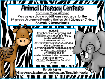How Animals Communicate Literacy Centers- 1st Grade Journeys Lesson 7