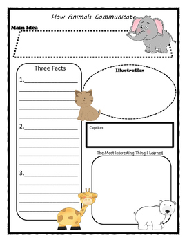 How Animals Communicate Story Map - Graphic Organizer