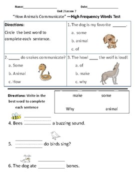 How Animals Communicate - Vocabulary & Comprehension Test/Quiz (Journeys)
