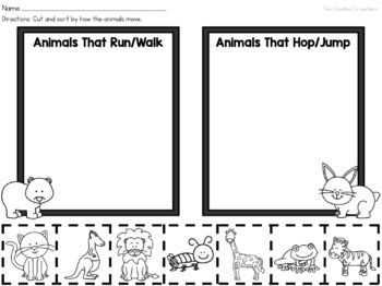 how animals move printable book sorting worksheets posters. Black Bedroom Furniture Sets. Home Design Ideas