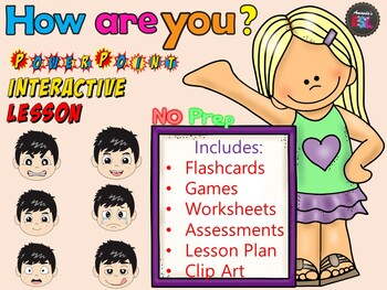How Are You - Emotions - ESL Interactive Power Point Lesson - NO PREP