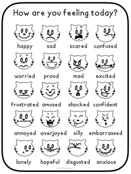 How Are You Feeling? Cat Emotions Poster (Color & B/W)