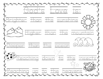 How BIG is God's Love Coloring Page and Handwriting Practice