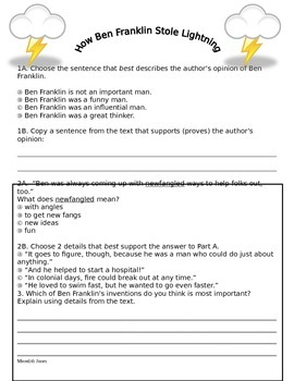 """How Ben Franklin Stole the Lightning"" CCSS test"