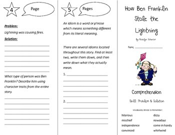 How Ben Franklin Stole the Lightning Trifold - Treasures 4th Grade Unit 2 Week 4
