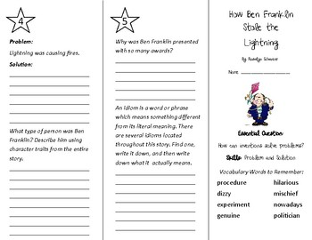 How Ben Franklin Stole the Lightning Trifold - Wonders 4th Grade Unit 5 Week 3