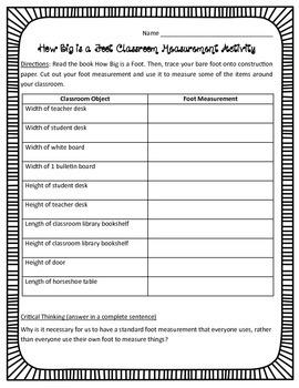 How Big Is A Foot Classroom Measurement Activity CCSS 4.MD.1