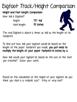 How Big is Bigfoot's Foot? ~ A Measurement and Inference Packet