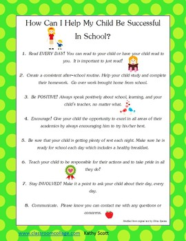 Freebie! How Can You Help Your Child Be Successfull In School?  Parent Handout