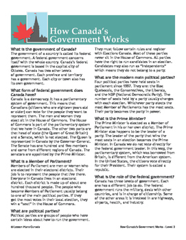 Canadian Government Introduction (Grades 7-8)