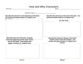 How Characters Change Graphic Organizer Reader's Response