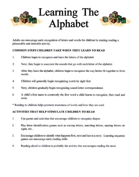 How Children Learn The Alphabet Lesson