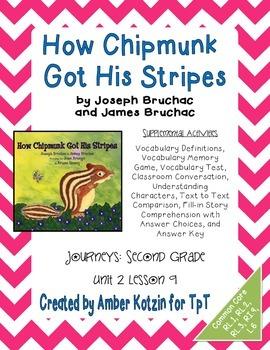 How Chipmunk Got His Stripes Activities 2nd Grade Journeys