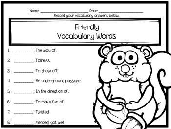 How Chipmunk Got His Stripes Journey's Literacy Centers - Second Grade Lesson 9