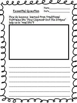 How Chipmunk Got His Stripes Journeys Second Grade Unit 2 Lesson 9 Activities