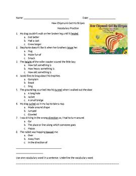 How Chipmunk Got His Stripes Vocab Practice