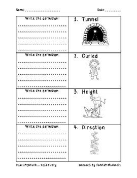 How Chipmunk Got His Stripes Vocablulary