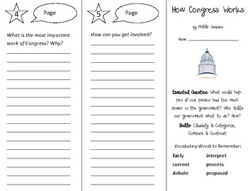How Congress Works Trifold - Open Court 3rd Grade Unit 5 Lesson 3