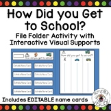 How Did You Get to School? File Folder Activity with EDITABLE Name Cards