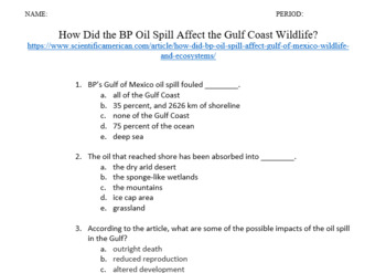 How Did the BP Oil Spill Affect the Gulf Coast Wildlife?  w Questions