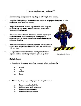 How Do Airplanes Stay in the Air - Informational Text Test Prep