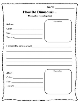 How Do Dinosaurs... Observation Recording Sheet
