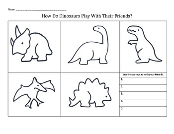 How Do Dinosaurs Play With Their Friends? Friendship worksheet
