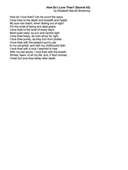 How Do I Love Thee by Elizabeth Barrett Browning -question
