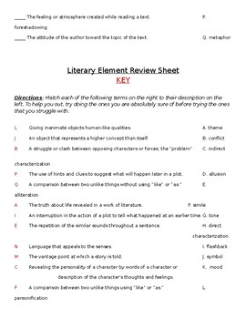 Literary Elements Review Worksheet