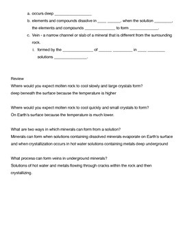 How Do Minerals Form? notes Fill-in the blank