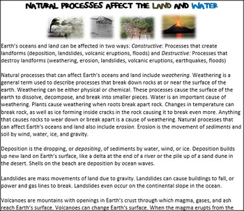 How Do Natural Processes Affect Land and Water?