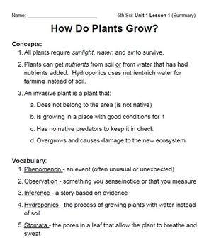 How Do Plants Grow? (Unit 1, Part 1): Summary Notes