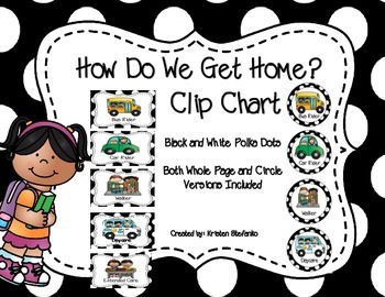 How Do We Get Home? Clip Chart and Graph (Black and White Polka Dots)
