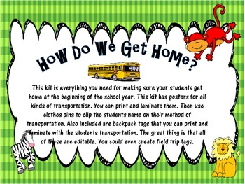 How Do We Get Home? Tansportaion Posters and Tags ** Editable** Safari Theme