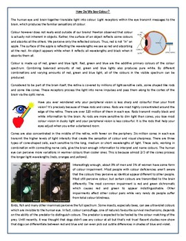 How Do We See Colour? - Reading Comprehension Worksheet / Informational Text