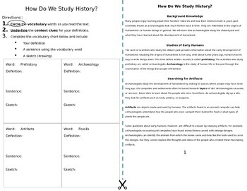 How Do We Study History?  Artifacts and Fossils Reading with Graphic Organizer