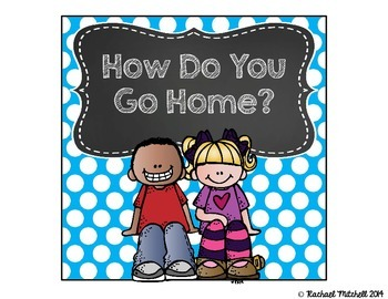 How Do You Get Home? Clip Chart- Bright Polka Dots and Chalkboard {Square}