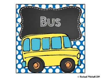How Do You Get Home? Clip Chart- Primary Polka Dots and Chalkboard {Square}