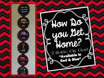 How Do You Get Home? {Editable} Clip Chart