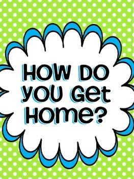 How Do You Get Home? Transportation Class Chart (lime & blue)
