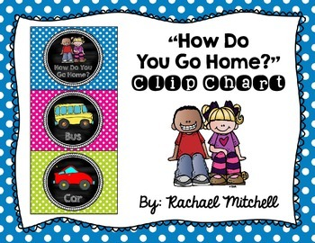 How Do You Go Home? Clip Chart- Mini Polka Dots {Bright} and Chalkboard