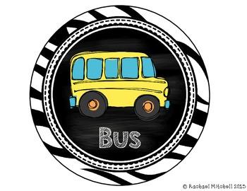 How Do You Go Home? Clip Chart- Zebra and Chalkboard