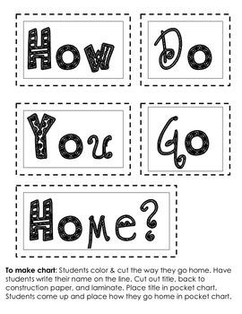 How Do You Go Home Pocket Chart Activity Cards