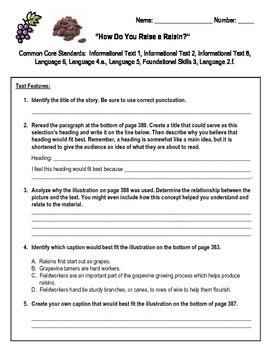How Do You Raise a Raisin? Assessment Reading Street Third Grade