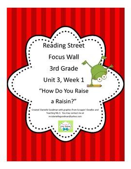 How Do You Raise a Raisin? Focus Wall Reading Street, Grade 3 CC 2013