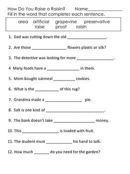 How Do You Raise a Raisin?--Supplemental Packet--Read Street--Third Grade