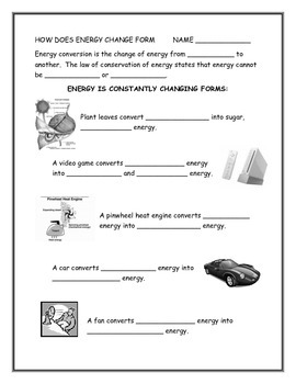 How Does Energy Change Form - Energy Conversions Note-taking Guide