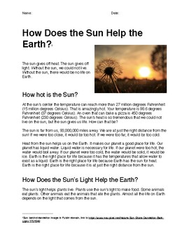 How Does the Sun Help the Earth? (Reading Comprehension)