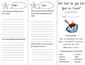 How Fast Do You Eat Your Ice Cream Trifold - Imagine It 4th Grade Unit 4 Week 5
