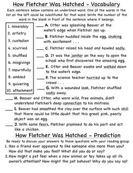 How Fletcher Was Hatched Literature Unit